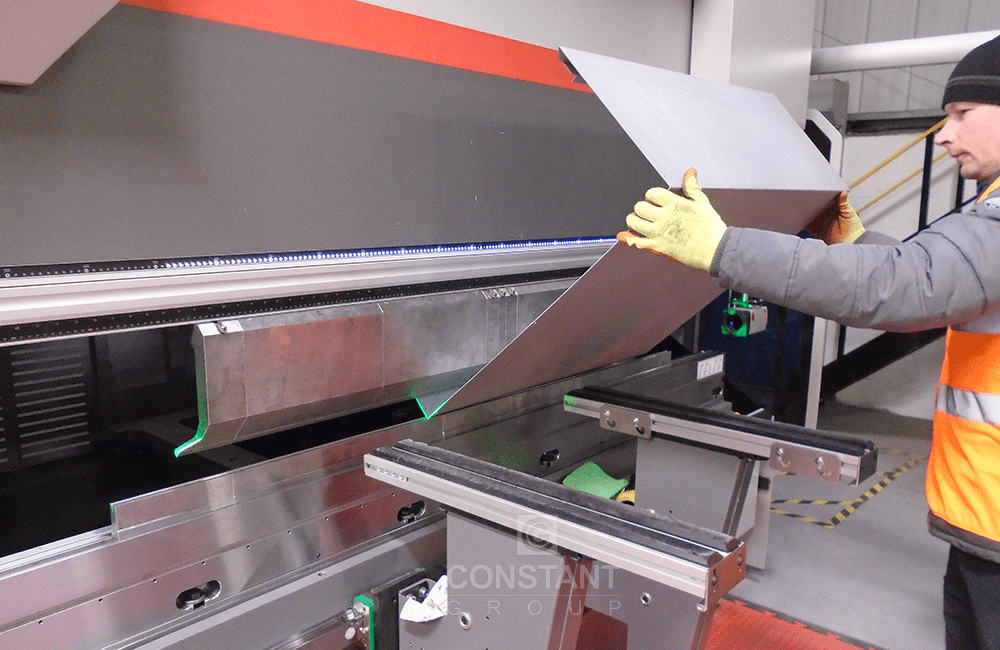 Press Brake stage of a revised metal communications cabinet