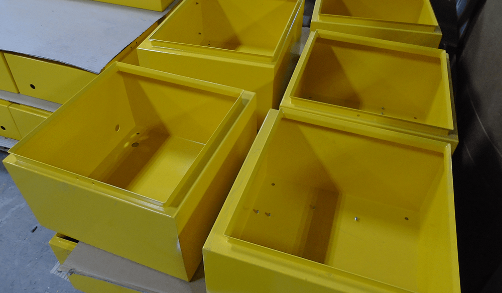 Yellow Painted Defibrillator Cabinets