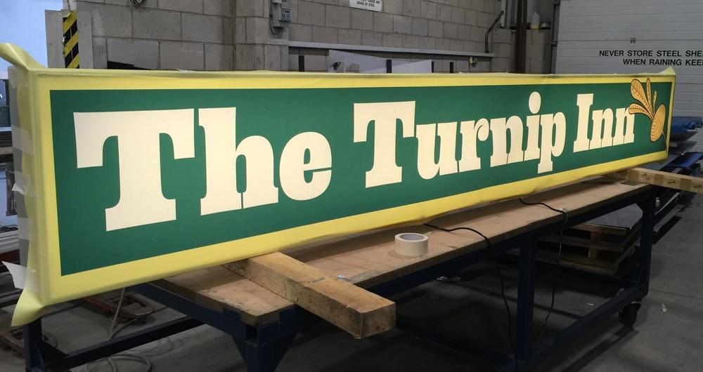 Assembling the Turnip Inn Sign