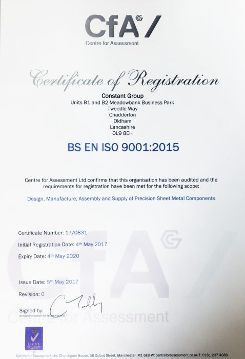 Constant Group Achieves ISO 9001:2015 Certification