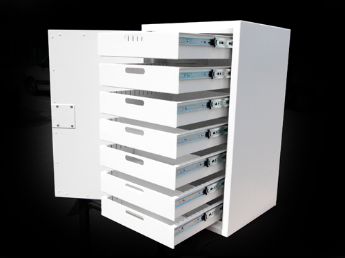 Assembled fabricated metal drawer cabinet