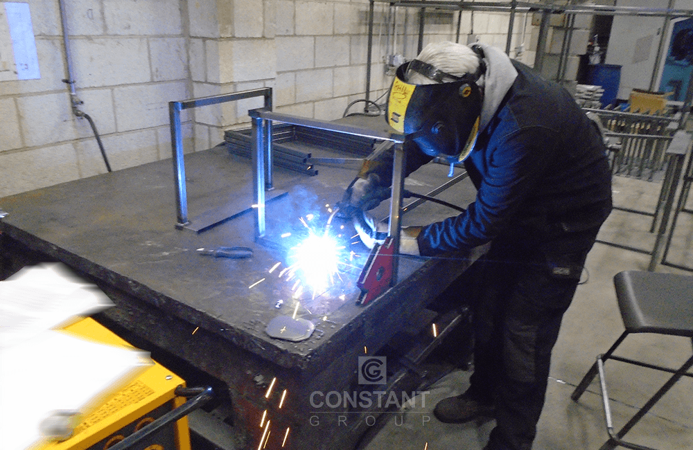 Welding the display stands