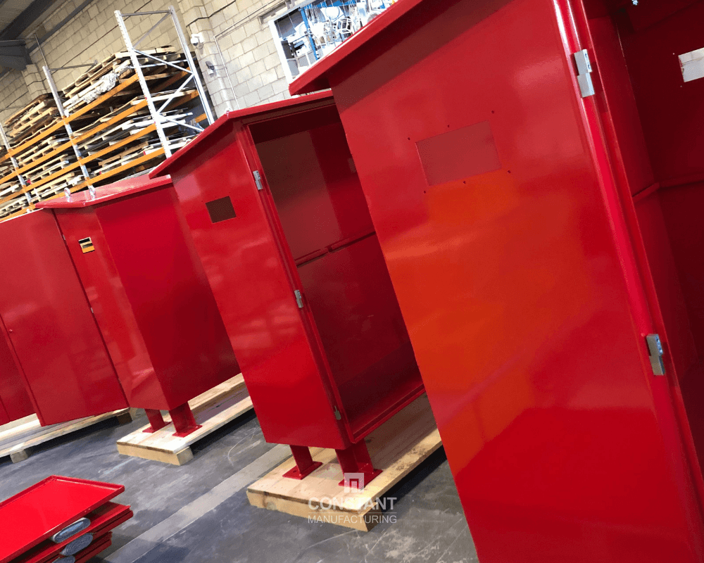 Batch manufacturing fire equipment cabinets