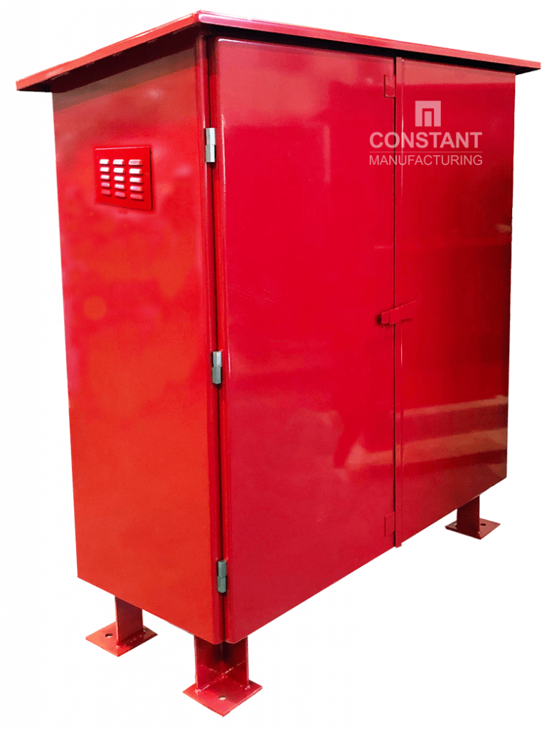 Large freestanding metal fire equipment cabinet